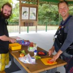 Ryan and Matt preparing lunch.