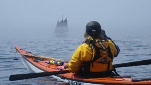 The Hjordis emerges from the fog as Joyce captures the pic